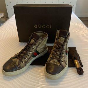 Gucci guccisima canvas high top sneakers